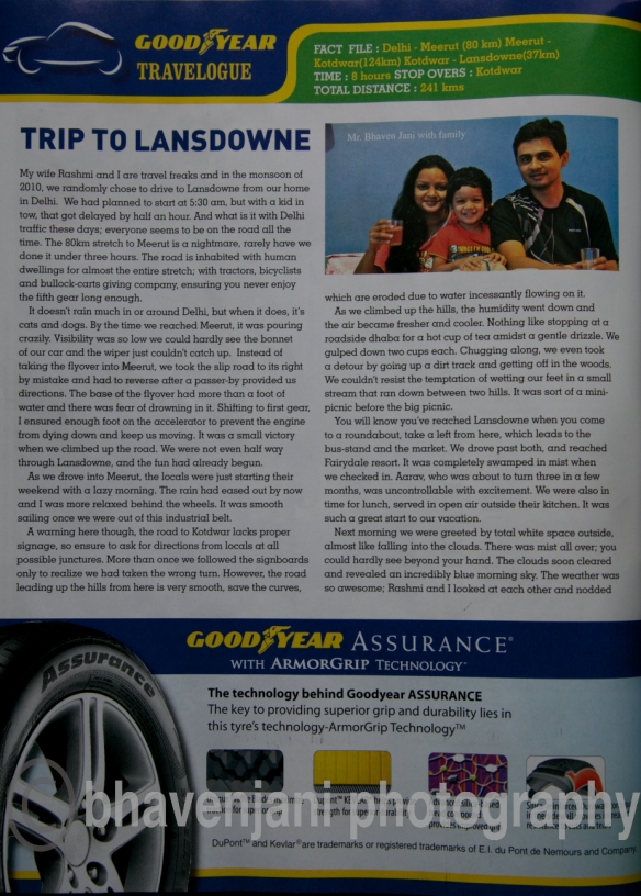 My article titled 'Trip to Lansdowne' that appears in the Dec 2011 issue of Outlook Traveller magazine