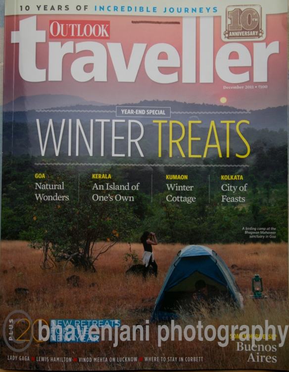 Cover page of Dec 2011 Outlook Traveller magazine where my article 'Trip to Lansdowne' appears