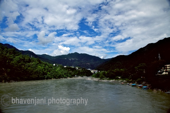 View of the Himalayan mountains from Rishikesh
