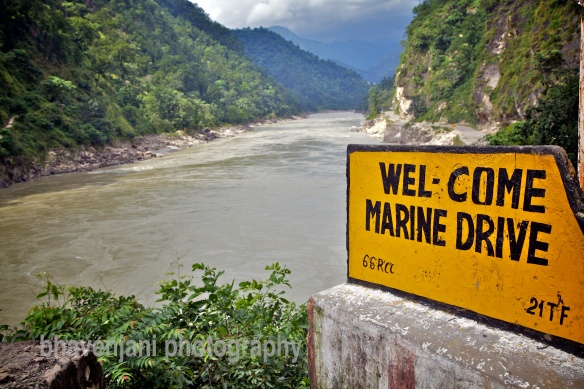 Sign-board of Marine Drive on the Ganges ahead of Rishikesh