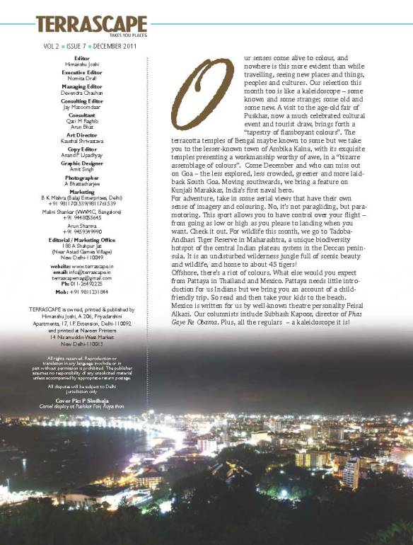 Editorial page of magazine has my image of Pattaya at night, on the bottom
