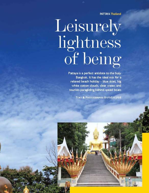 Double spread opening page of my article titled 'Leisurely lightness of being'