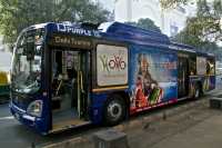 Image of Delhi Tourism's HoHo bus at Hanuman Mandir