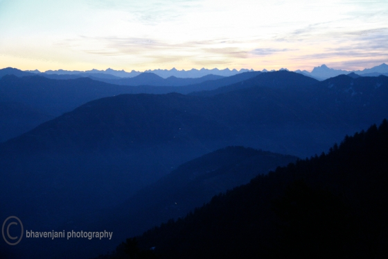 View of the rolling hills of Himalayas on an early morning