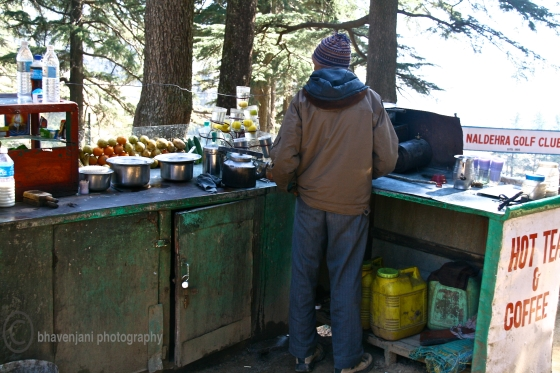 A tea-stall at Naldhera, India's highest golf course