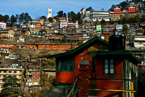 Shimla town as viewed from the taxi stand near the Lift
