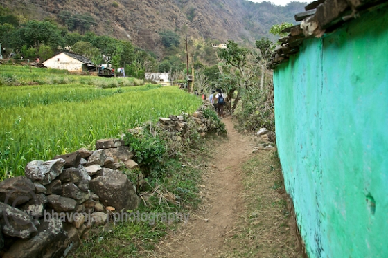 Trekking through Byasi village in the Himalayas