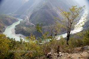 View of the meandering Ganges in the Himalayas