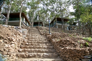 Steps leading up to the cottages at Latitude 30N