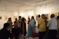Art lovers at the exhibition of paintings by Abani Sen