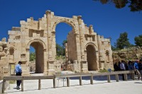 The three-arched South Gate near the visitors' centre is the primary entrance to this site - Jarash, Jordan