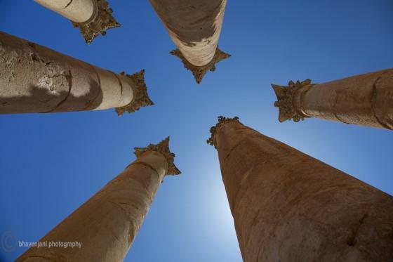 Corinthian pillars at the Temple of Artemis in Jarash, Jordan