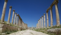 Columns flank the central street known as Corda in Jarash, Jordan