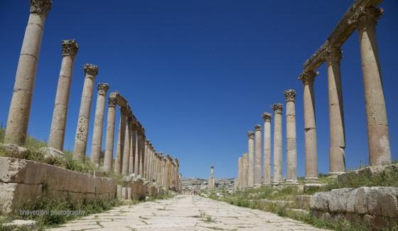 Columns flank the central street known as Corda in Jarash, Jordan