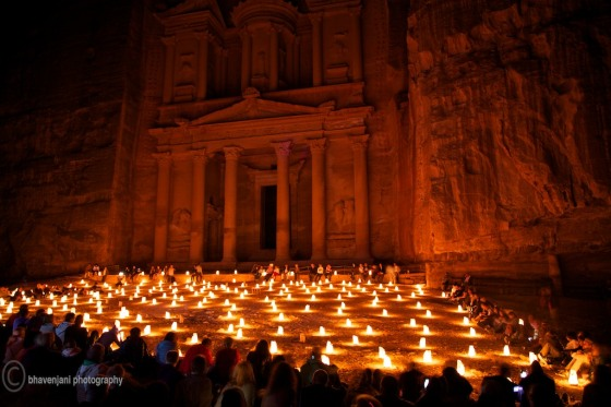 The Treasury lit by candles on the Petra-by-night visit