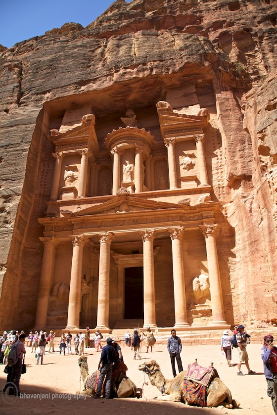 The famous facade of the Treasury at Petra