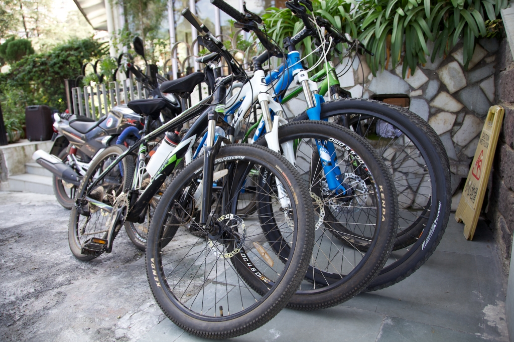Cycles stack up as participants pour in at the hotel for registration at the MTB Himalaya event