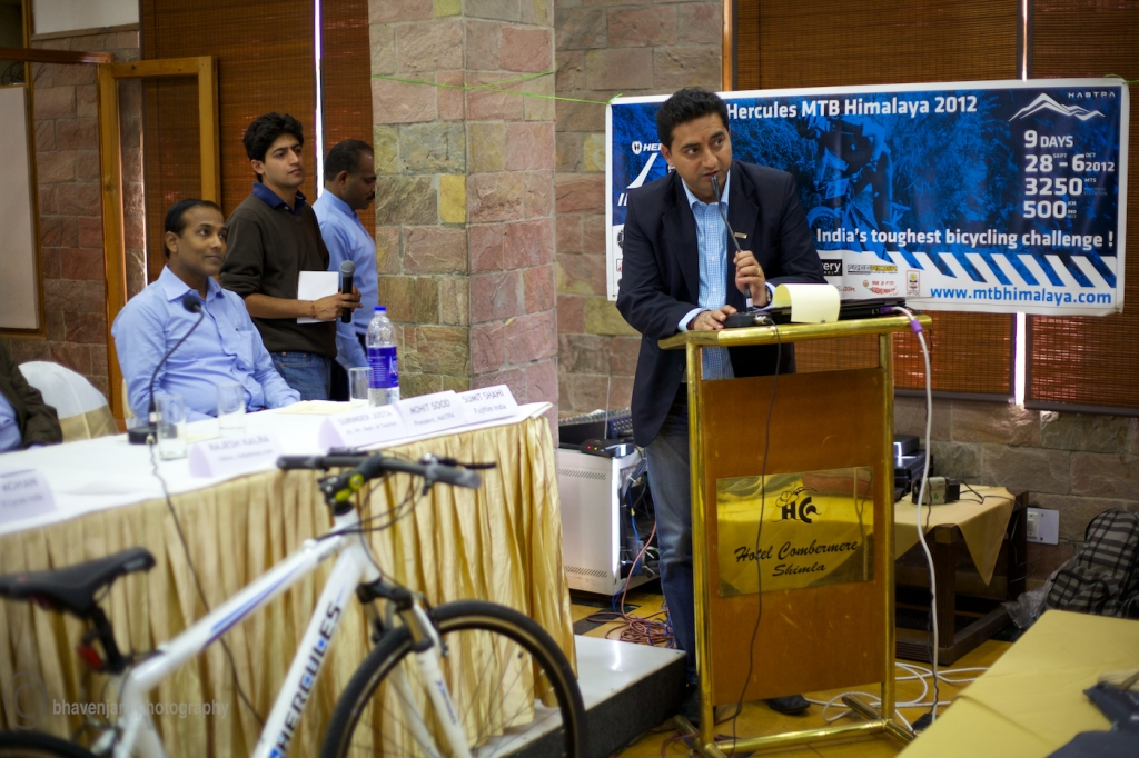 Mohit Sood, president of HASTPA, addresses the media at the launch of MTB Himalaya 2012 edition