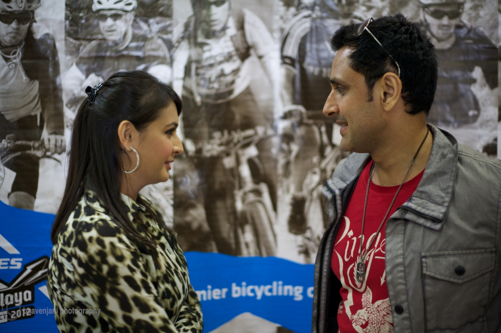 'Do you want to join the race', they seem to be saying to each other. Parvin Dabas and Preeti Jhangiani at the press conference of MTB Himalaya event.