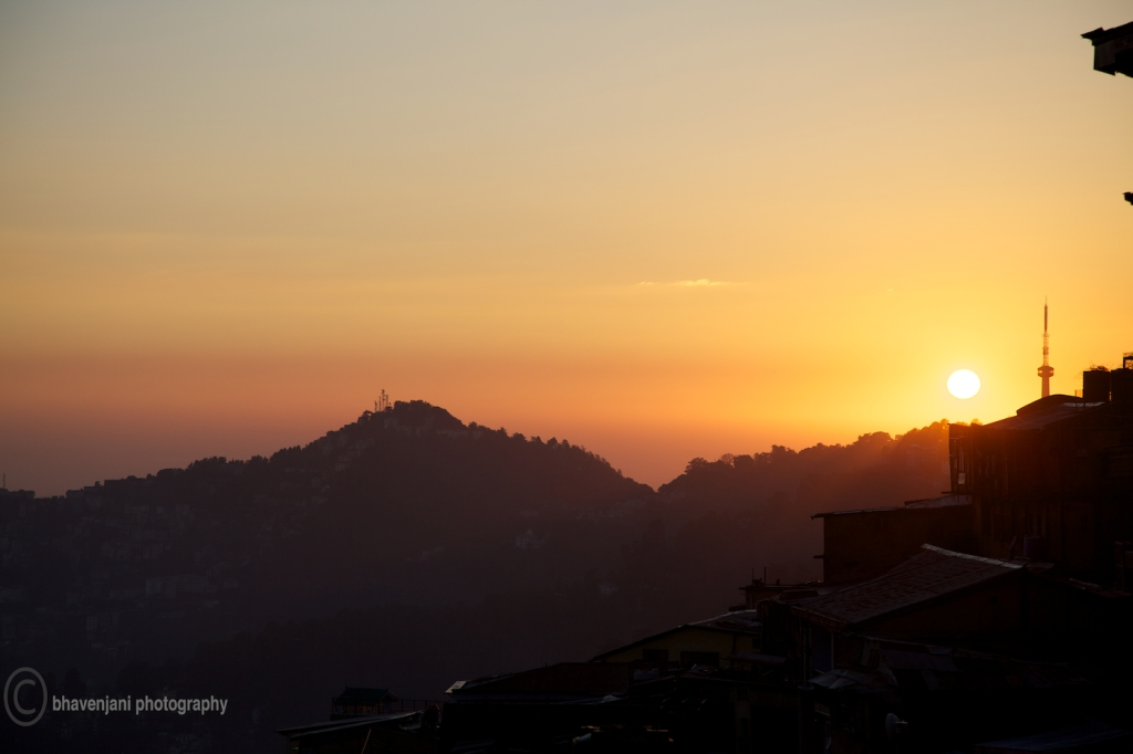 The sun goes down on Shimla, probably the last night of comfortable sleep for the participants for a long time.