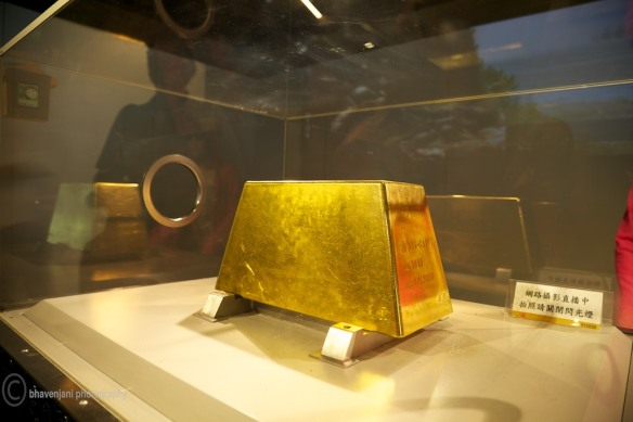 The 200 kg slab of gold, slide your hand through the hole to touch and feel it
