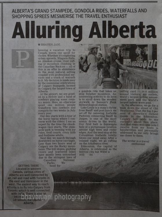 Alluring Alberta - Asian Age article on 11th Nov 2012