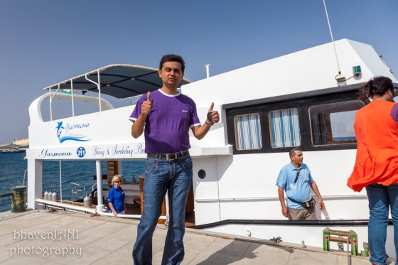 Getting aboard a boat for snorkelling in Aqaba, Jordan