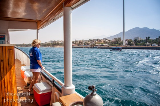 Emerald blue waters of the Red Sea in Aqaba, where borders of four countries meet
