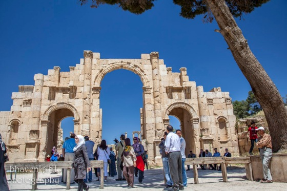 The three-arched South Gate entrance to the city of Jerash