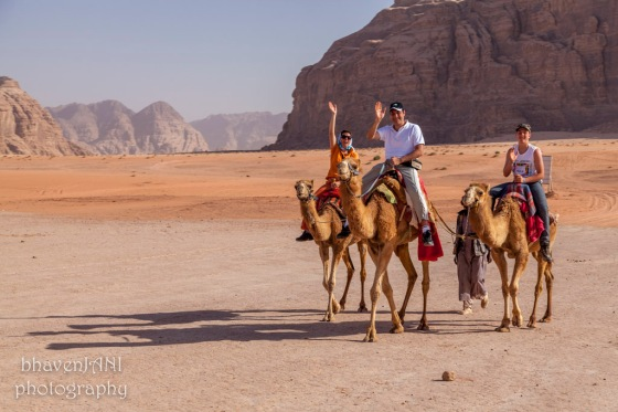 A family enjoys camel ride in the desert of Wadi Rum