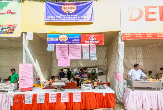 Food stalls at the Durga puja grounds in CR Park