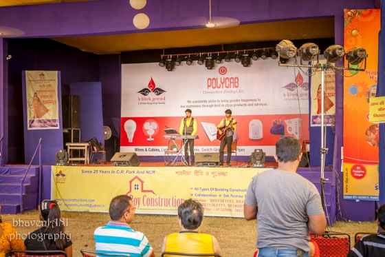 A musical band entertains the 'devotees' at the Durga puja festival